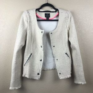 Maison Scotch Tweed Fringe Jacket